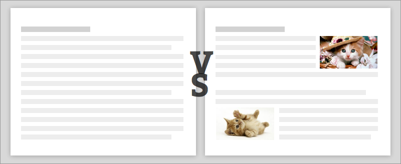 Content balanced: a healthy balance between the text and the media