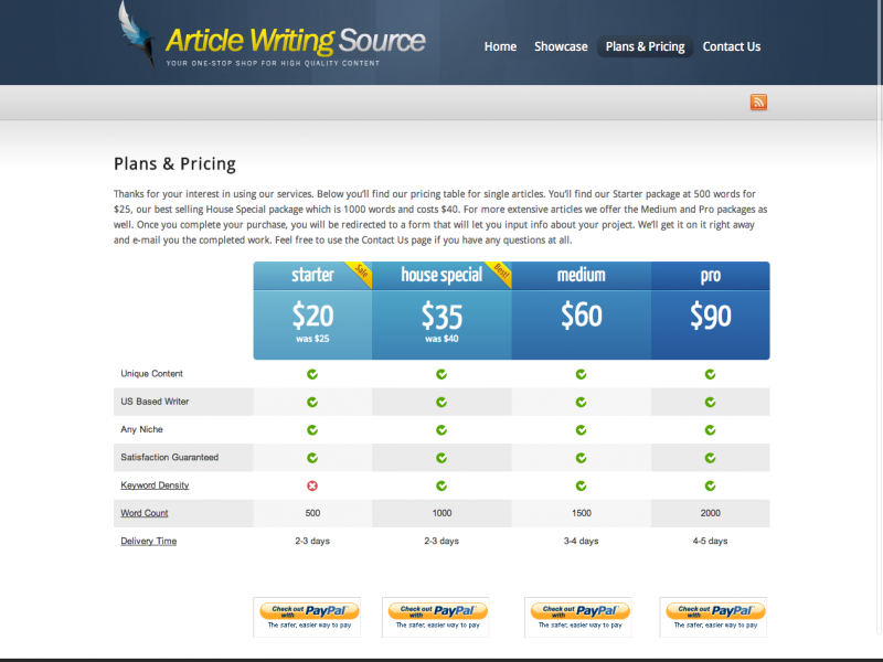 Plans   Pricing   Article Writing Source