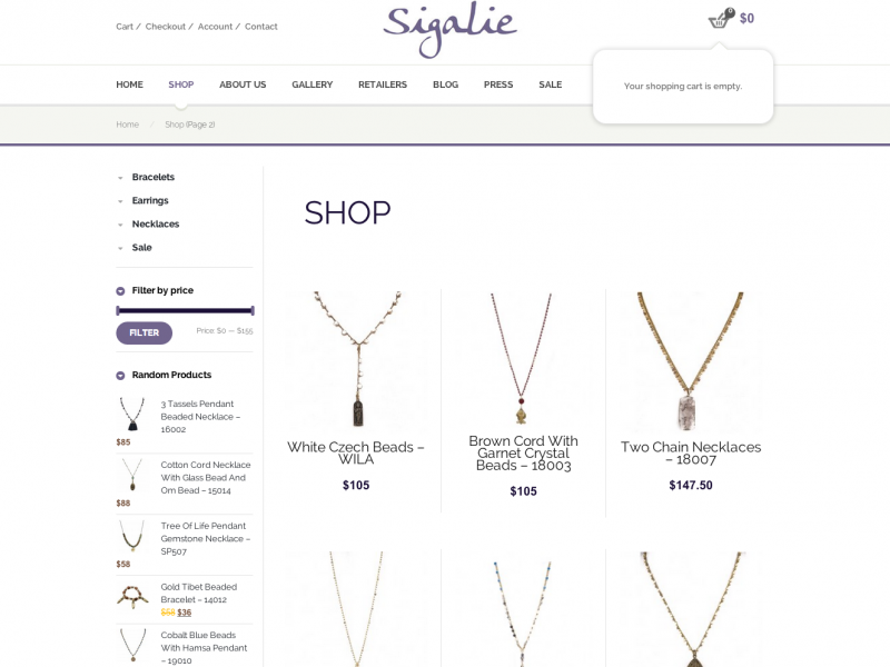 Products page at Sigalie